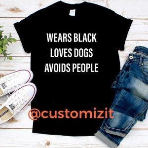 Wears black loves dogs